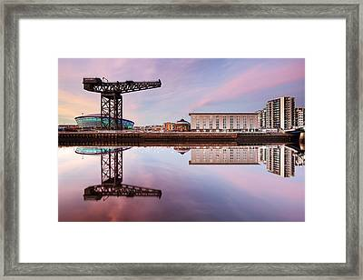 Clyde Waterfront Reflection At Sunset Framed Print by Grant Glendinning