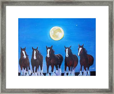 Clydesdales In Moonlight Framed Print by Aleta Parks