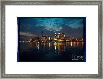 Cn  Tower And Toronto Down Town Water Front Beauty At Night Full Blast Photo Framed Print