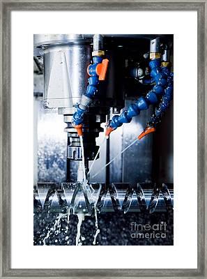 Cnc Machining Station At Work Framed Print by Michal Bednarek