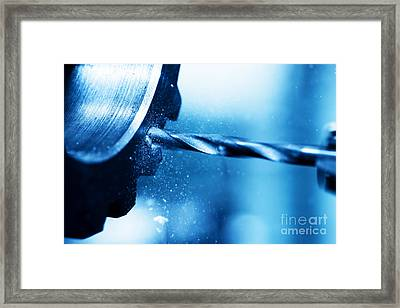 Cnc Turning Drilling And Boring Machine At Work Close-up Framed Print by Michal Bednarek
