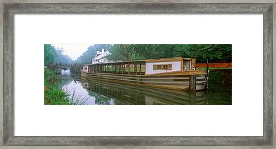 C&o Canal And Canal Boat, Great Falls Framed Print