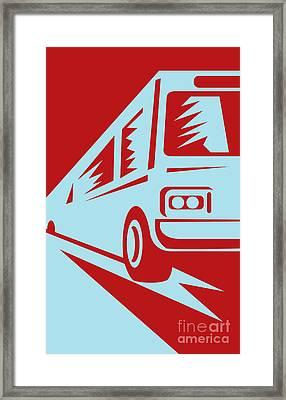 Coach Bus Coming Up Framed Print by Aloysius Patrimonio
