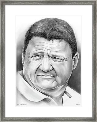 Coach Orgeron Framed Print