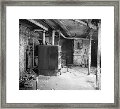 Coal Burning Furnace In Home Basement Framed Print