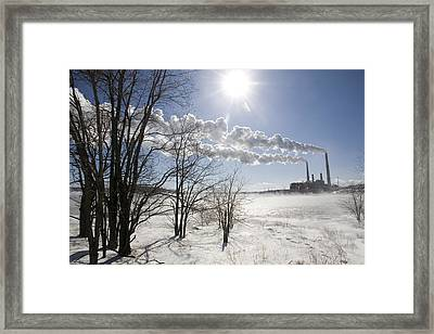 Coal Fired Power Plant In Winter Framed Print by Skip Brown