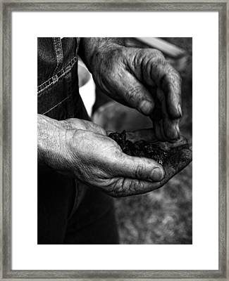 Coal Hands Framed Print by Brian Mollenkopf