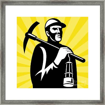 Coal Miner With Pickax Framed Print by Aloysius Patrimonio