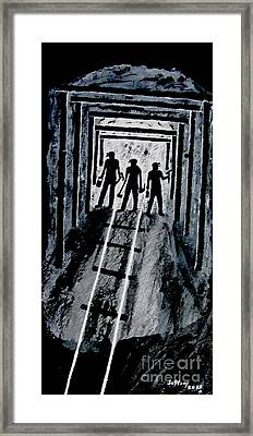 Coal Miners At Work Framed Print by Jeffrey Koss