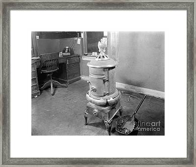 Coal Stove Heater In Business Office Framed Print