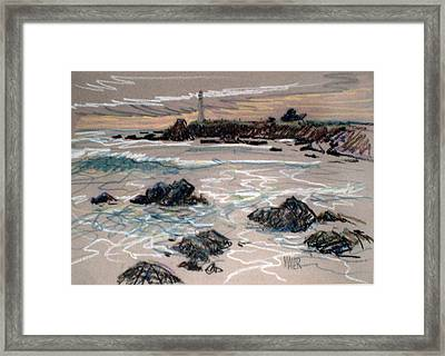 Coast At Pigeon Point Lighthouse Framed Print