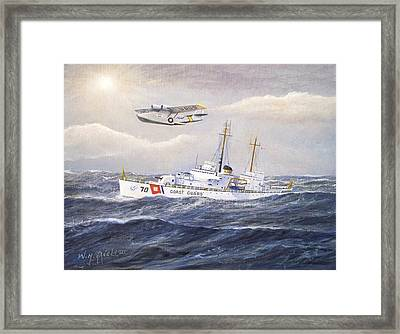 Coast Guard Cutter Pontchartrain And Coast Guard Aircraft  Framed Print by William H RaVell III