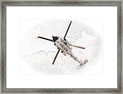 Framed Print featuring the photograph Coast Guard Helicopter by Aaron Berg
