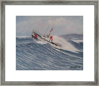 Coast Guard Motor Lifeboat Intrepid Version 2 Framed Print by William H RaVell III