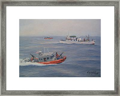 Coast Guard Nets Catch Of The Day Framed Print by William H RaVell III