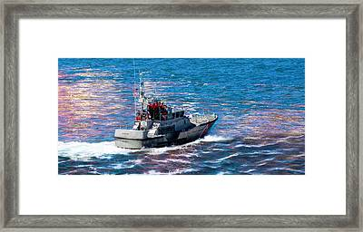 Ocean Framed Print featuring the photograph Coast Guard Out To Sea by Aaron Berg