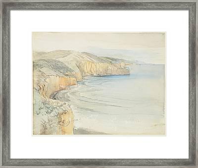 Coast Near Dunedin, 1865, By Nicholas Chevalier. Framed Print