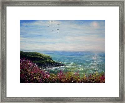 Coast Of Cornwall Framed Print by Ann Marie Bone