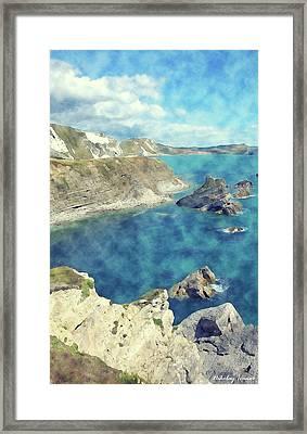 Coast Painting-cliffs-02 Framed Print