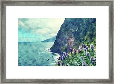 Coast Painting-vertical Border-01 Framed Print