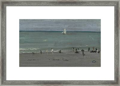 Coast Scene, Bathers Framed Print