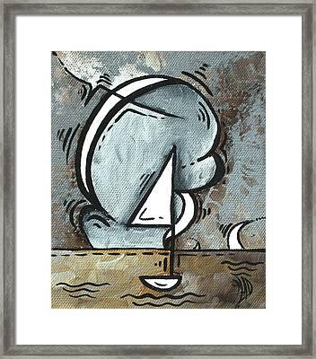 Coastal Art Contemporary Sailboat Painting Whimsical Design Silver Sea I By Madart Framed Print by Megan Duncanson
