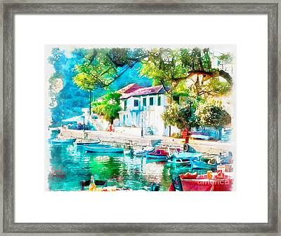 Coastal Cafe Greece Framed Print