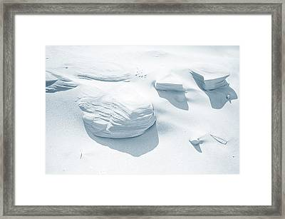 Framed Print featuring the photograph Coastal Dunes. Series Ethereal Blue by Jenny Rainbow