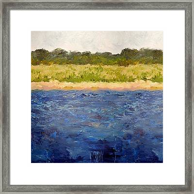 Framed Print featuring the painting Coastal Dunes - Square by Michelle Calkins
