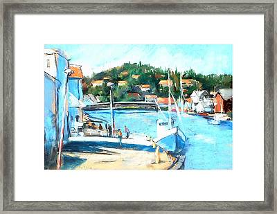 Coastal Fishing Village Framed Print by Joan  Jones