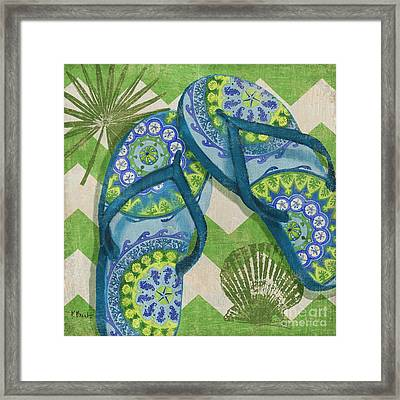 Coastal Flip Flops I Framed Print by Paul Brent