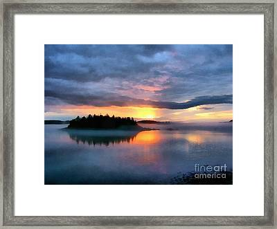 Coastal Maine Sunset Framed Print by Edward Fielding