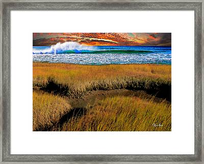 Coastal Marsh At Sunset Framed Print by Russ Harris