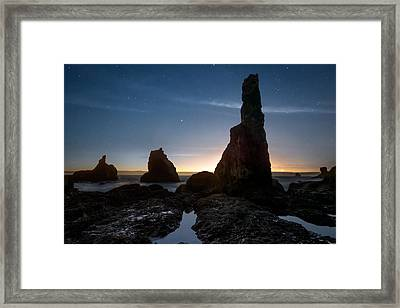 Coastal Night Serenity Framed Print by Leland D Howard