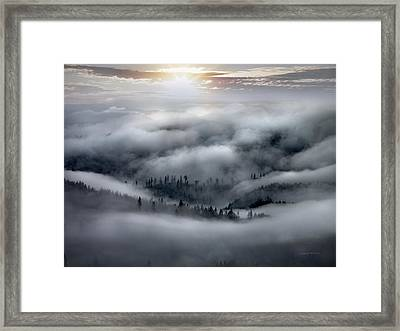 Coastal Range Ocean Fog Framed Print by Leland D Howard