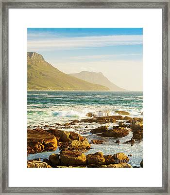Coastal Rocks And Mountains Framed Print by Tim Hester
