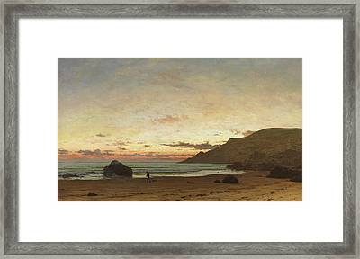 Coastal Scene With A Man And A Dog Framed Print