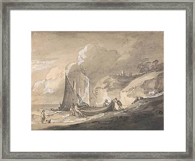 Coastal Scene With Figures And Boats  Framed Print