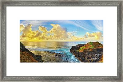 Coastal View At Sunrise. Panorama Framed Print