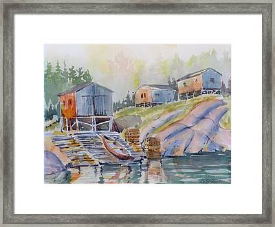 Coastal Village - Newfoundland Framed Print