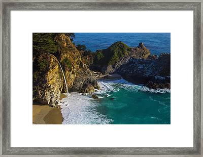 Coastal Waterfall Framed Print by Garry Gay