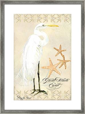 Coastal Waterways - Great White Egret Framed Print by Audrey Jeanne Roberts