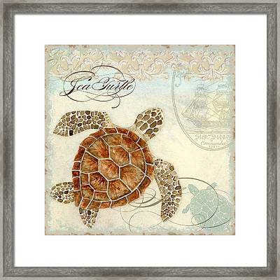 Coastal Waterways - Green Sea Turtle 2 Framed Print by Audrey Jeanne Roberts