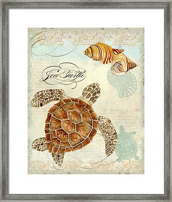 Coastal Waterways - Green Sea Turtle Rectangle 2 Framed Print by Audrey Jeanne Roberts