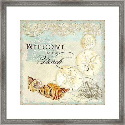 Coastal Waterways - Seashells Welcome Framed Print by Audrey Jeanne Roberts