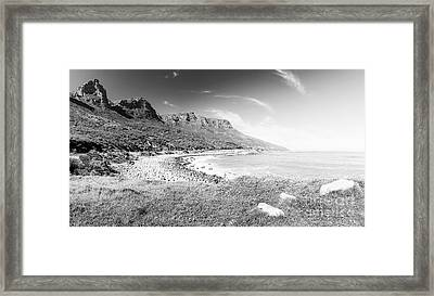 Framed Print featuring the photograph Coastline In South Africa Black And White by Tim Hester