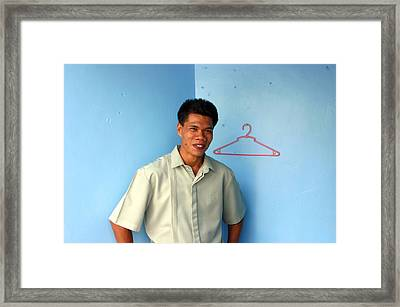 Coat Hanger Smile 2 Framed Print by Jez C Self