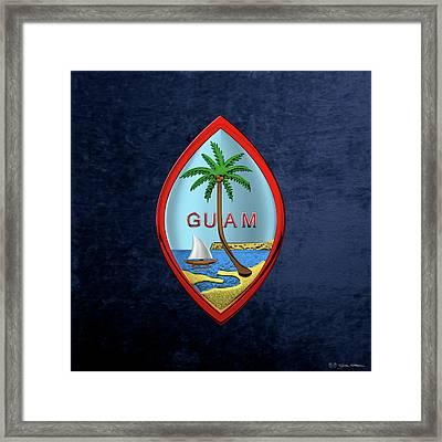 Coat Of Arms Of Guam - Guam State Seal Over Blue Velvet Framed Print