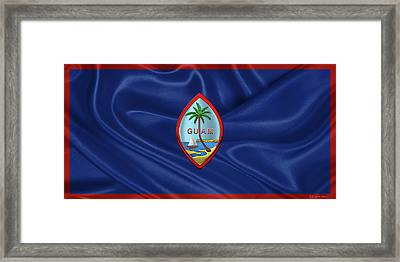 Coat Of Arms Of Guam - Guam State Seal Over Flag Of Guam  Framed Print