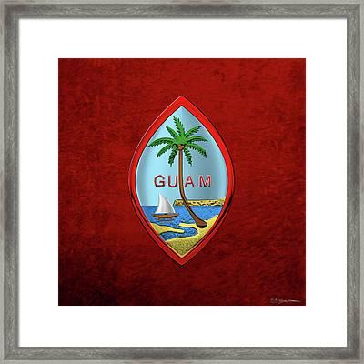 Coat Of Arms Of Guam - Guam State Seal Over Red Velvet Framed Print